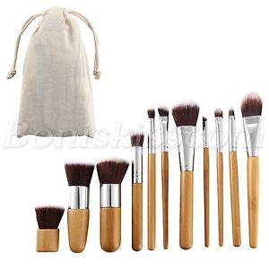 11pc-Bamboo-Handle-Cosmetics-Foundation-Blending-Blush-Powder-Cream-Makeup-Brush