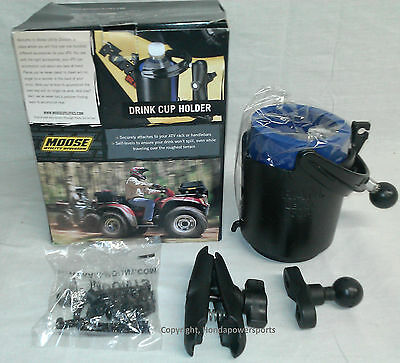 FITS MOST ATV/'S//UTV MODELS NEW MOOSE SELF-LEVELING DRINK CUP HOLDER BLACK