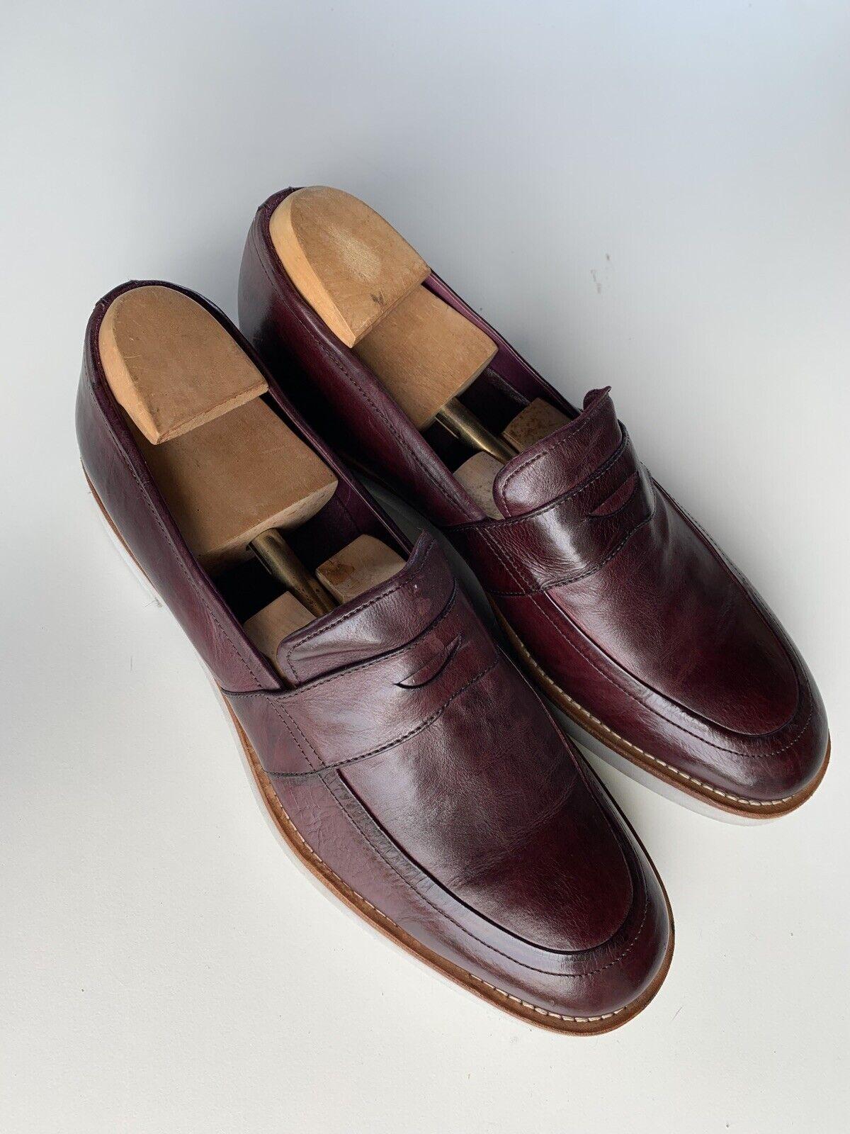 Arhommei Collezioni en cuir Penny Loafers chaussures PLUM violet UK 9 UE 44 29 cm comme neuf