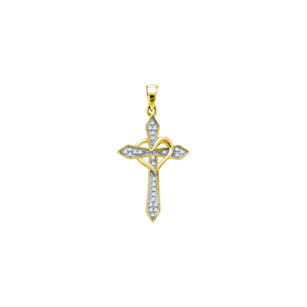 10kt Yellow gold Womens Round Diamond Cross Heart Pendant 1 10 Cttw