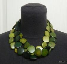 Collier fantaisie 3 rangs de perles plates bois dégradé de verts