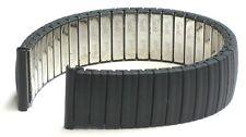18mm Speidel Twist-O-Flex Ion Coating Stainless Plain Black Watch Band..
