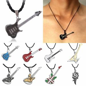 New-Punk-Unisex-Men-039-s-Stainless-Steel-Guitar-Leather-Pendant-Necklace-Jewellery