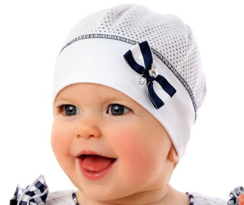 Marika Süsse Baby Mädchen Sommer Mütze Beanie Festlich Taufe Baumwolle Weiß Blau