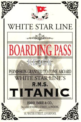 RMS Titanic Boarding Pass Reproduction Large 13 x 19 Print