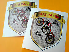 CAFE RACER Vintage Classic Retro Motorcycle Helmet Stickers Decals 2 off 85mm