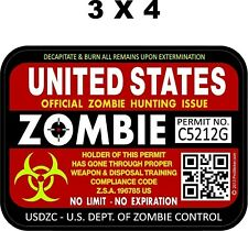 Zombie Hunting Permit United States Decal Uv Laminated 3h X 4w