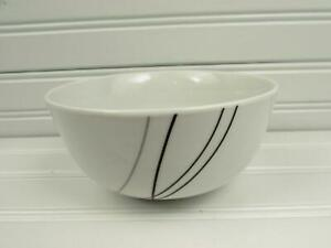 Alec-by-Tabletops-Unlimited-Soup-Cereal-Bowl-Black-amp-Gray-Lines-NEW