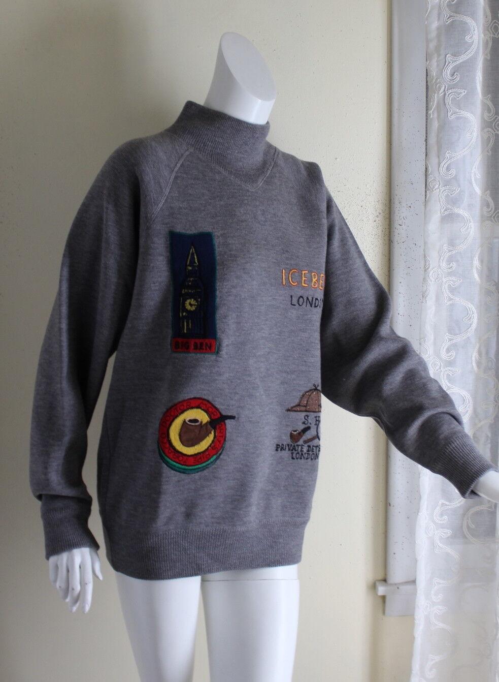 Iceberg London IV M L XL Big-Ben England Anglophile Detective Boutique Sweater