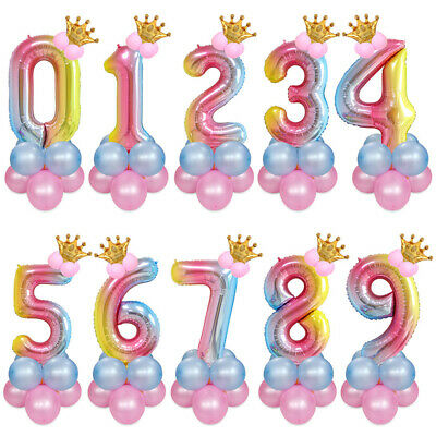 Party Decor Helium Foil Balloon Gradient Color Birthday Number Wedding Reusable