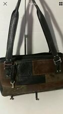 Fossil Tan Genuine Leather  Patchwork Satchel  Bag