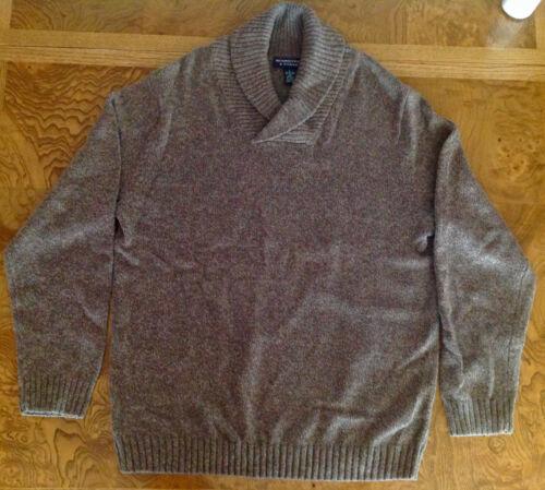 Roundtree /& Yorke Men sz L Large Light Brown Beige Sweater Cotton Shawl Collar