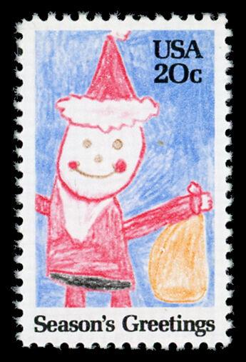 1984 20c Santa Claus Crayon Drawing, Season's Greetings
