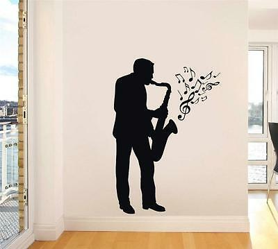 SAXOPHONE PLAYER Decal WALL STICKER Silhouette Home Decor Art Music Notes ST91