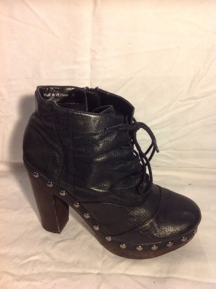 French Connection Black Ankle Leather Boots Size 37