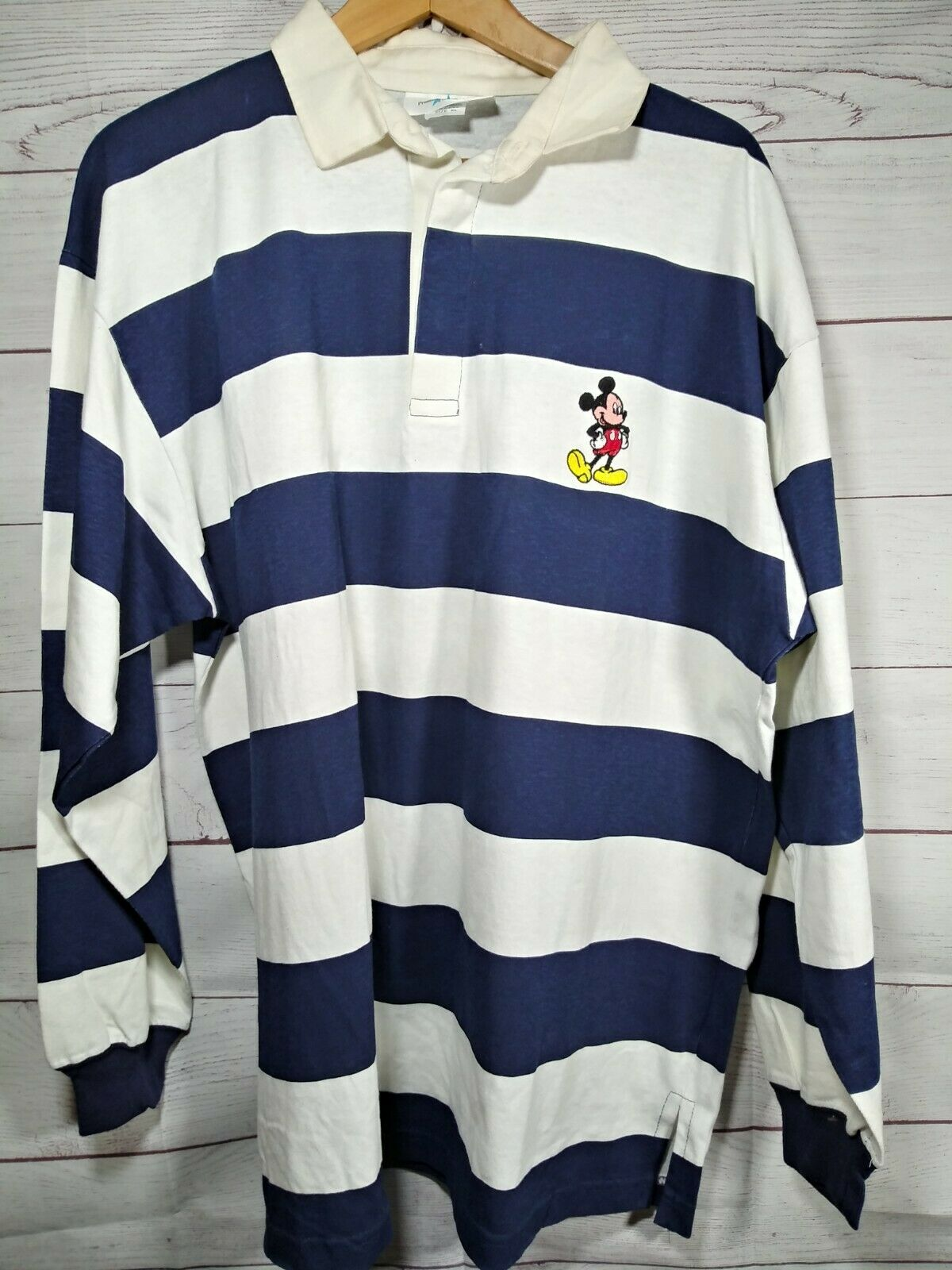 Vintage Mickey Mouse Polo Shirt XL Disney Promo Product Rugby Embroidered 621J