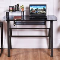 Black Glass Top Computer Desk W/printer Shelf Table Furniture Home Pc Office Use