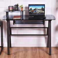Black Glass Top Computer Desk W/printer Shelf Table Furniture Home Pc Office Use