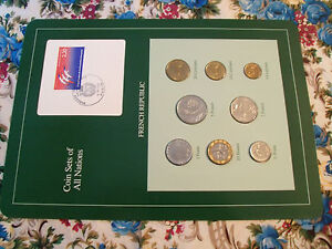 Coin-Sets-of-All-Nations-France-French-w-card-1988-1989-UNC-1-2-2-Francs-1989