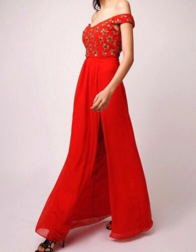 Virgos Lounge Gracie Red Cocktail Party Wedding Embellished Maxi Dress UK 8,18
