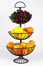 3 Tier Fruit Basket Stand Sturdy Iron Storage Black Bowl Rack Display Organizer