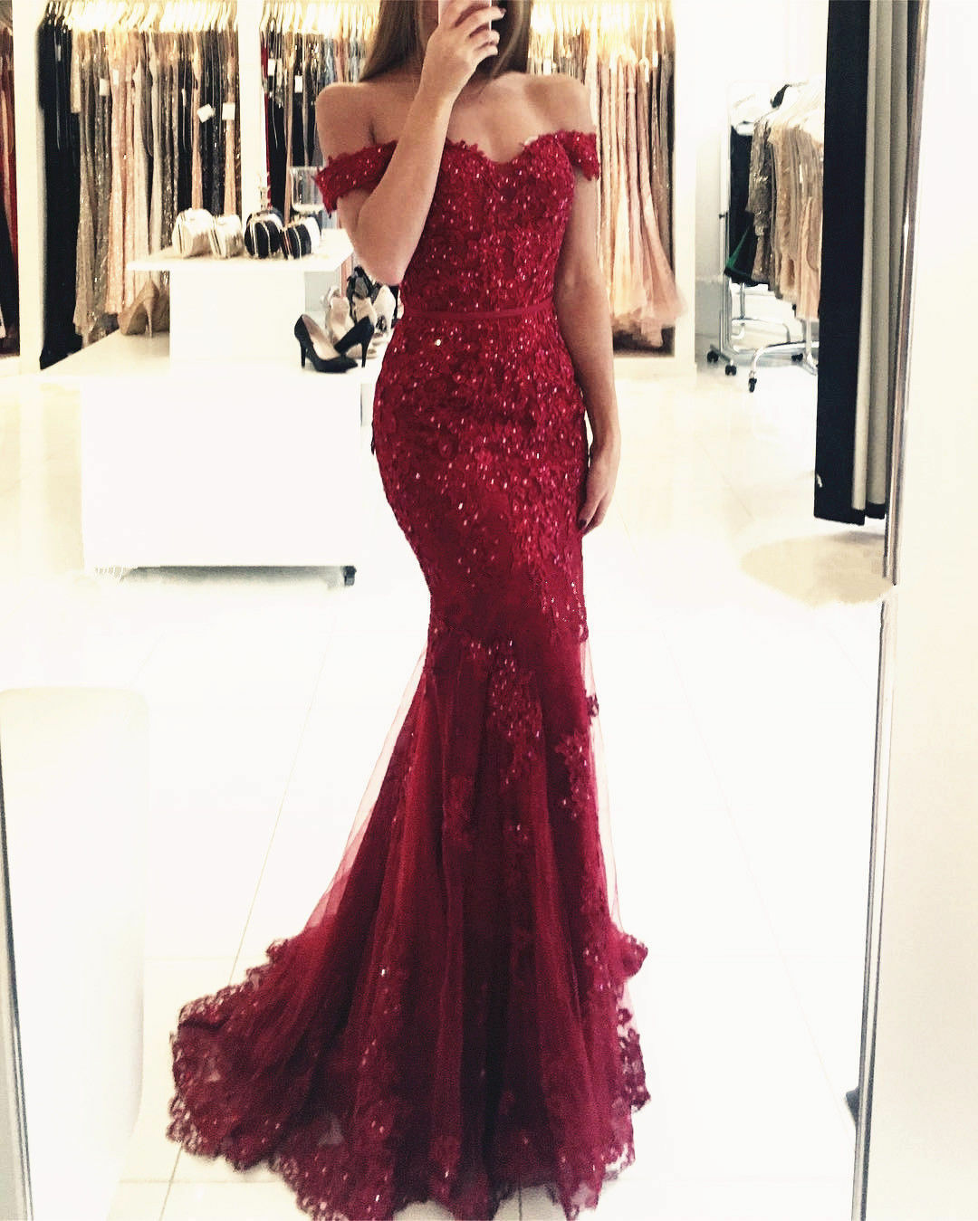 Bordeaux Perles dentelle robe de soirée sirène Celebrity Pageant Party Prom Robe