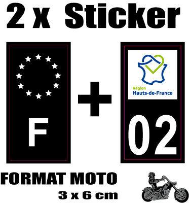 2 Stickers Style Plaque Moto 3x6 Cm Black F étoiles Blanches + Département 02