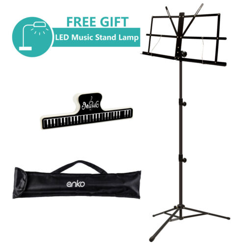 ANKO Music Stand with Music Book Clip, LED Music Stand Lamp and Carrying Bag