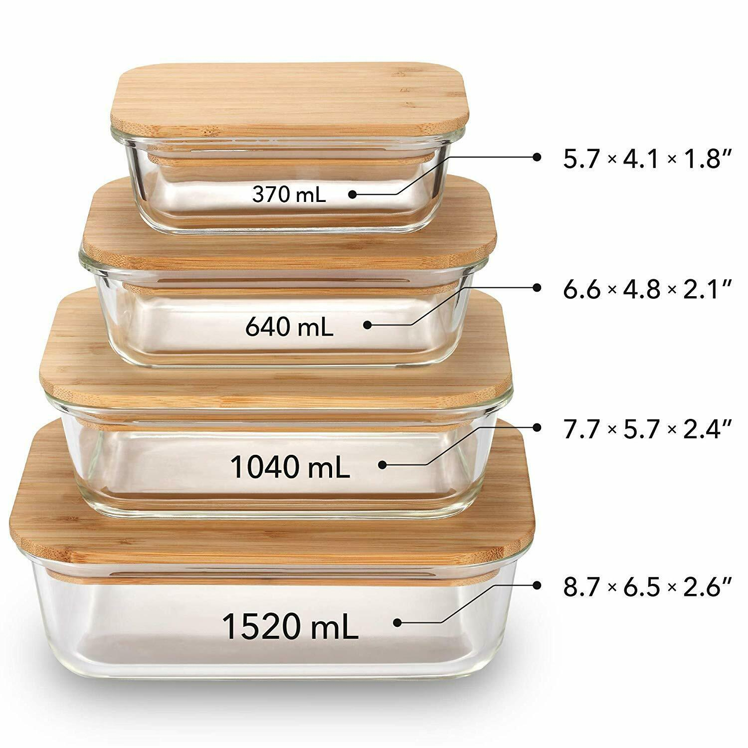 Food Containers Glass Plastic Free Set of 4