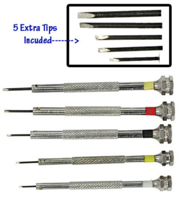 Screwdriver Set 5 pc Jewelers Watch Jewelry Eyeglasses Repair Tools Precision 10