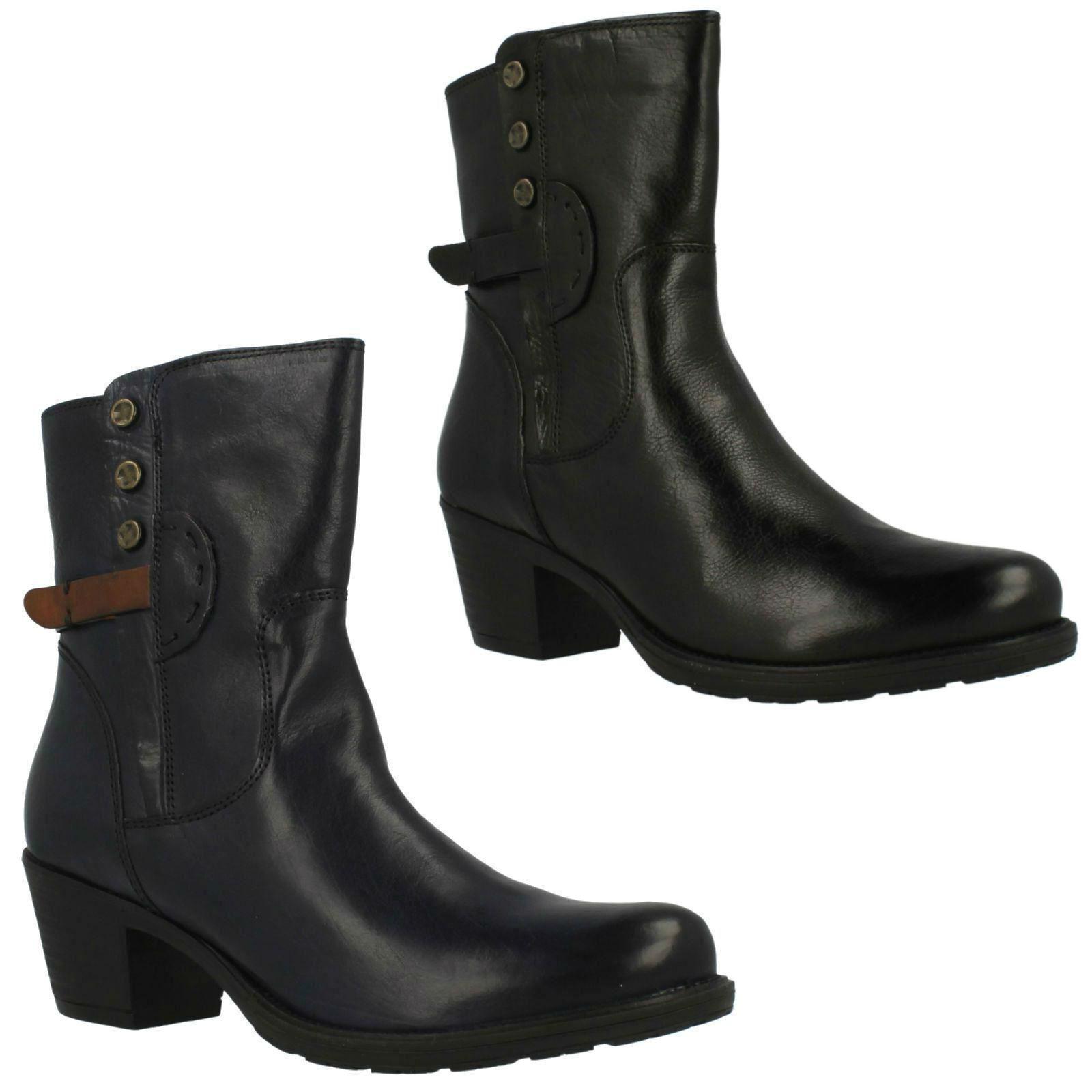Grandes zapatos con descuento Maymie Skye Clarks para mujer negros Azul Marino Cuero Con Cremallera Up Medio