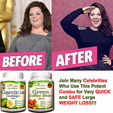 Garcinia Cambogia + Green Coffee Bean Combo Fast Weight Loss 100% Pure Organic