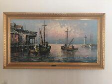 Max Savy Original Oil painting on Canvas 54 X 30 Framed Light House Sailboats