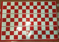 "2m Red Racing Stripes Chequered pattern 6"" wide - vinyl car sticker, decals"