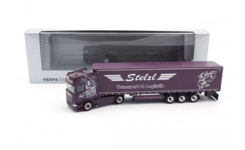 """1:87 #928670 Herpa Scania R 13 TL rideaux planifier-Semi-remorque /""""Stelzl/"""""""