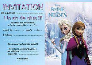 5 ou 12 cartes invitation anniversaire reine des neiges rf 01 avec chargement de limage 5 ou 12 cartes invitation anniversaire reine des stopboris Images