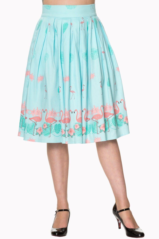 60's Retro Tropical Pink Flamingos Pleated A-Line Light bluee Midi skirt