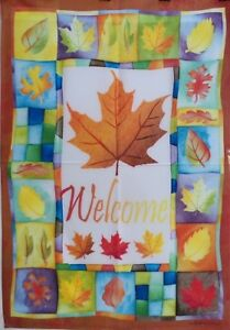"""Welcome Leaves Standard House Flag by Toland 28"""" x 40"""", #1423"""