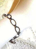 Heavy Vintage Chain Link 925 Sterling Silver Charm Bracelet