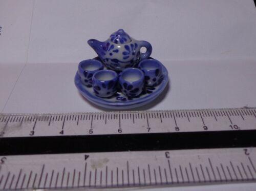 Escala 1:12 De Cerámica Pintado A Mano Juego de té chino B5 Casa De Muñecas En Miniatura