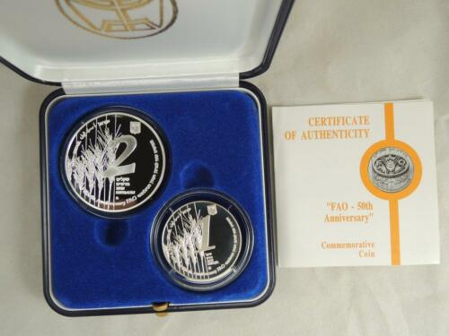 BU+PR SILVER COINS 1995 FAO-FOOD AND AGRICULTURE ORGANIZATION 50th ANNIV
