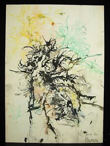 "Isora Acosta 1969 ""para Tio"" Dessin Art Abstrait Moderne Test De Rorschach 41 Cm ProcéDéS De Teinture Minutieux"
