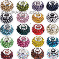 Big Hole Czech Crystals Beads fit European Charm Bracelet Spacer Rhinestone Pave