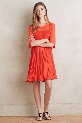 Anthropologie Maeve Edie Swing rot Dress. s 6.