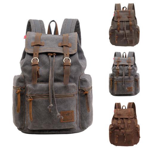 Hot Vintage Men/'s Canvas Shoulder Bag Military Satchel Travel Backpack Rucksack