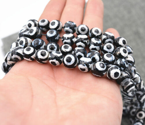 Unique 10mm black /& white Eye agate gemstone loose beads 15 /""