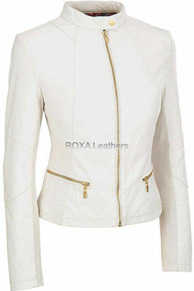 ROXA Elegant Women Pure Authentic Lambskin Biker Zipped Coat Leather Jacket RX43