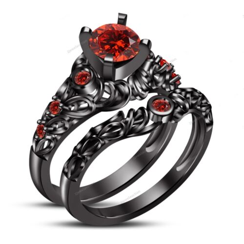 14K Black Gold Over Round Cut Red Garnet His And Her Wedding Band Trio Ring Set