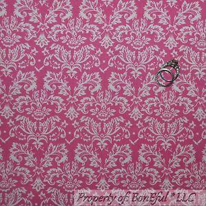 BonEful-FABRIC-FQ-Cotton-Quilt-Pink-Rose-Flower-Dot-Victorian-Damask-Shabby-Chic