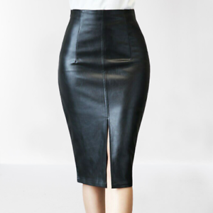 TONSEE Women Pu Leather High Waist Slim Pencil Skirt